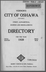 Image: front cover of 1928 Vernon's City of Oshawa Directory