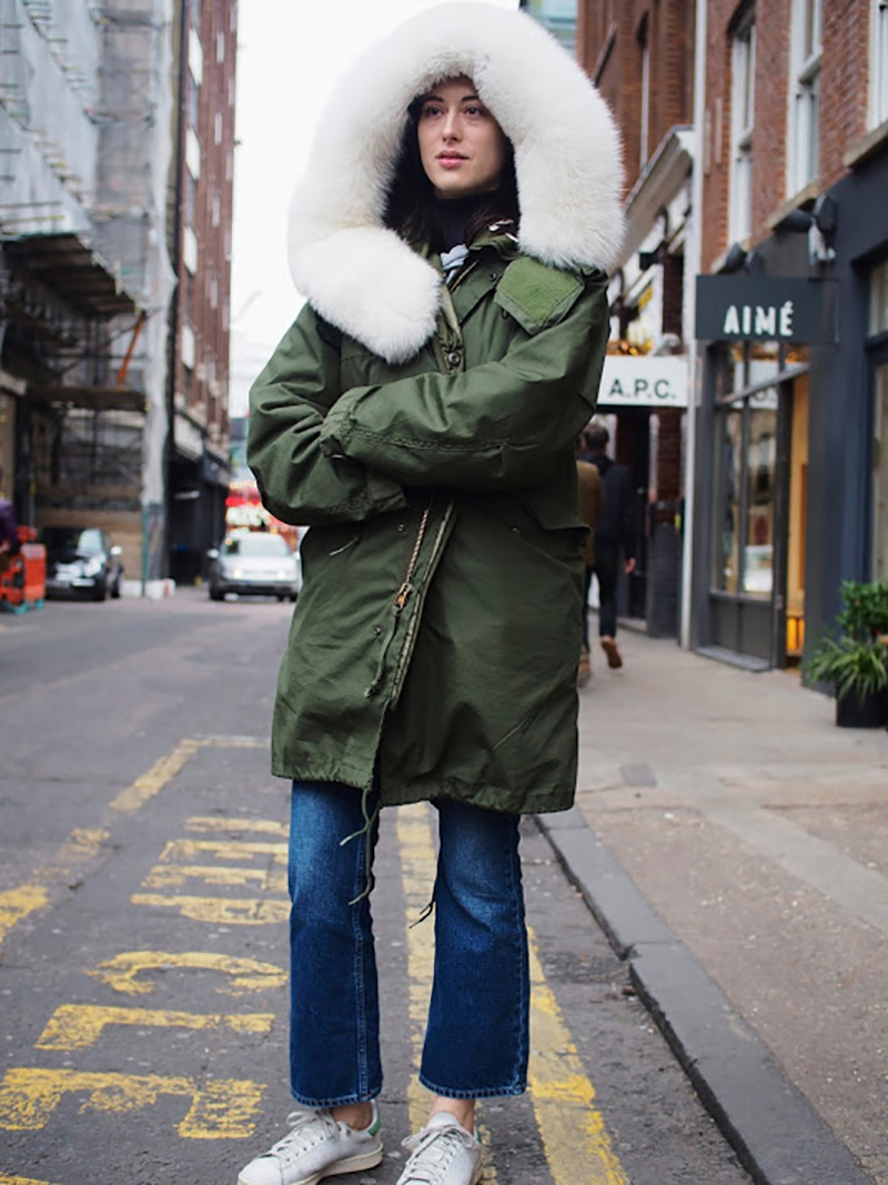 Streetstyle-for-the-weekend-bombers-leatherjackets-parkas-converse-white sneakers-denim