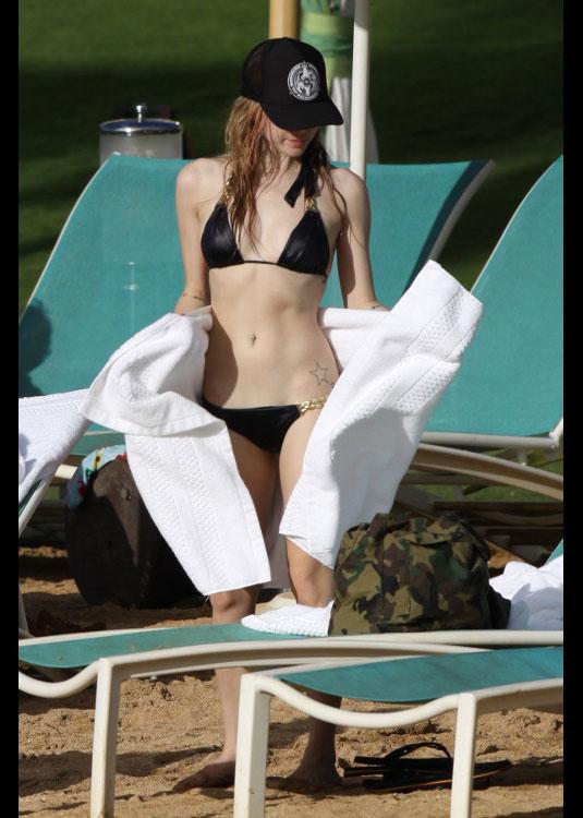 Avril Lavigne Purple Bikini