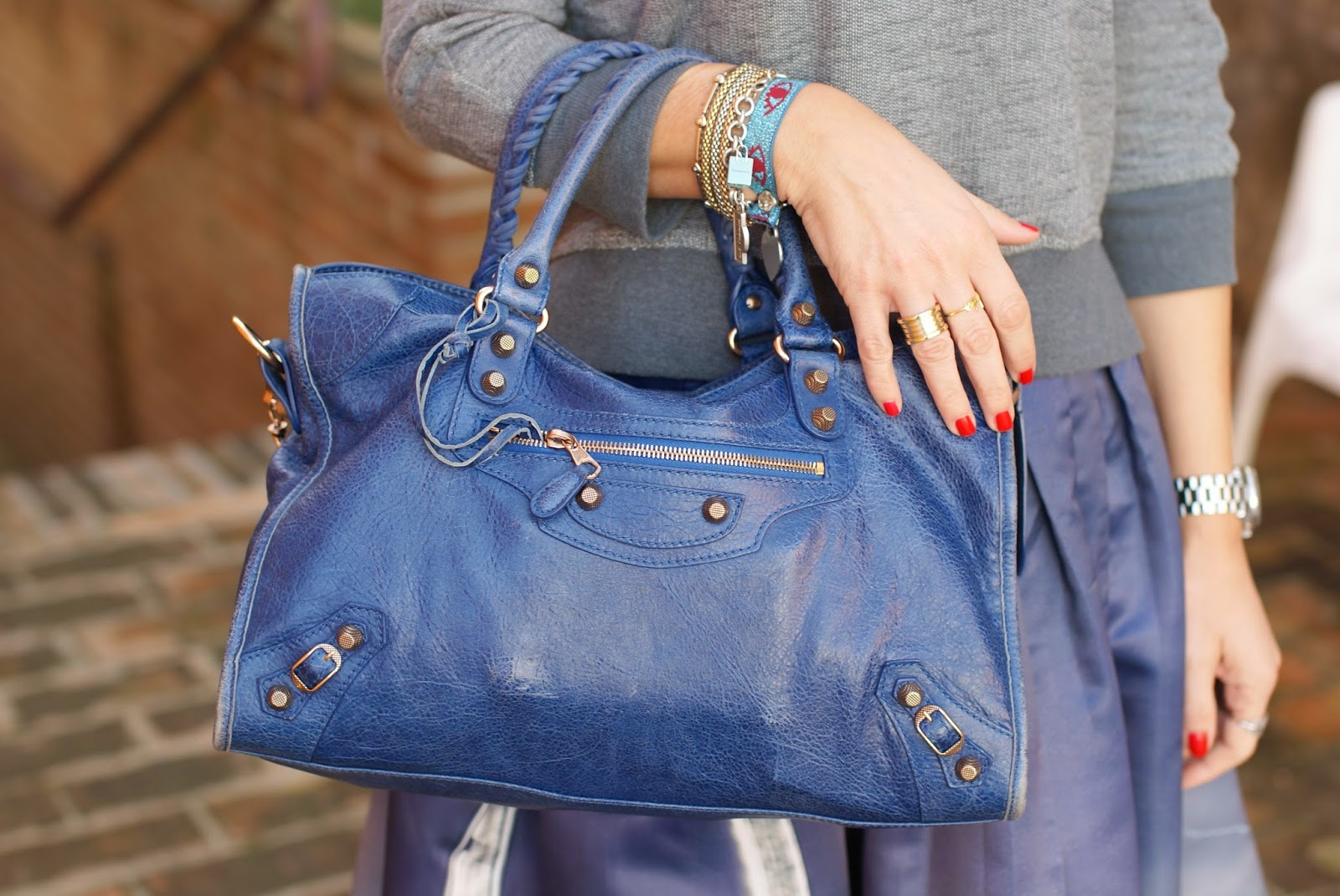 Balenciaga City cobalt blue bag, Fashion and Cookies, fashion blogger
