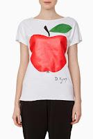 Tricou alb din bumbac cu imprimeu mar model DonaKyrosBP1052 (Ama Fashion)
