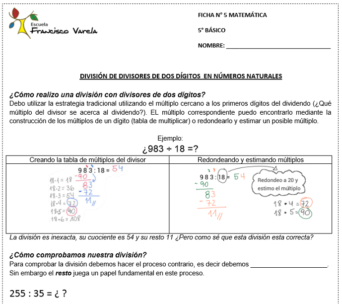 Recursos Matemáticos: Divisiones - 5to. Básico