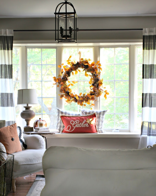 Large fall wreath in windswept with gather pillow-www.goldenboysandme.com