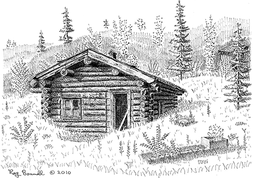 Log Cabin Drawing Log cabin post office is about