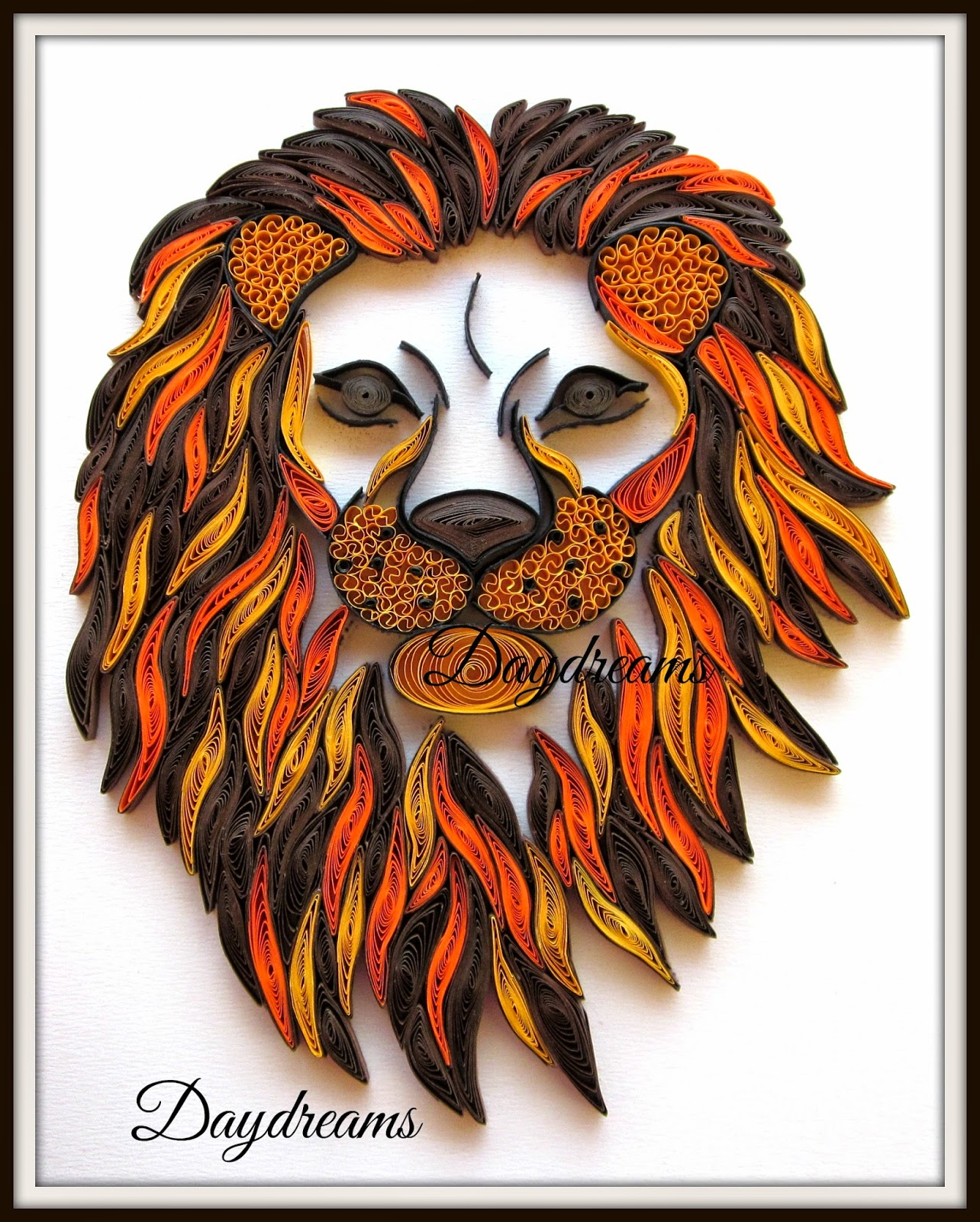 Quilling Line Art : Daydreams quilled lion head