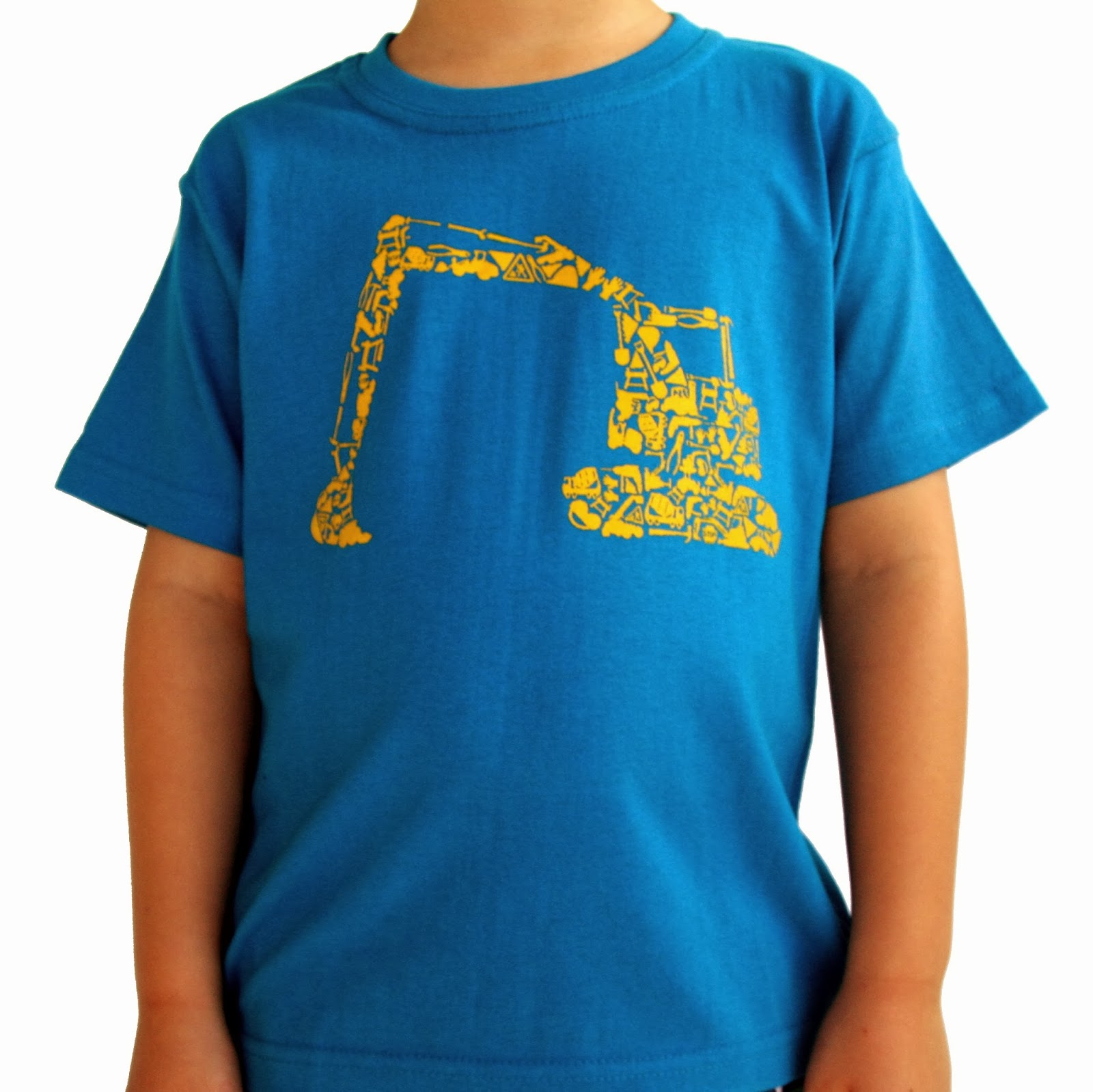 Mini Mayhem blue digger tshirt for boys construction roadworks excavator