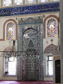 Iznik Ceramic Tiles on the Wall and Mihrab (altar)