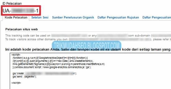 copy kode Google Analytics yang diberikan untuk ditanam pada blog