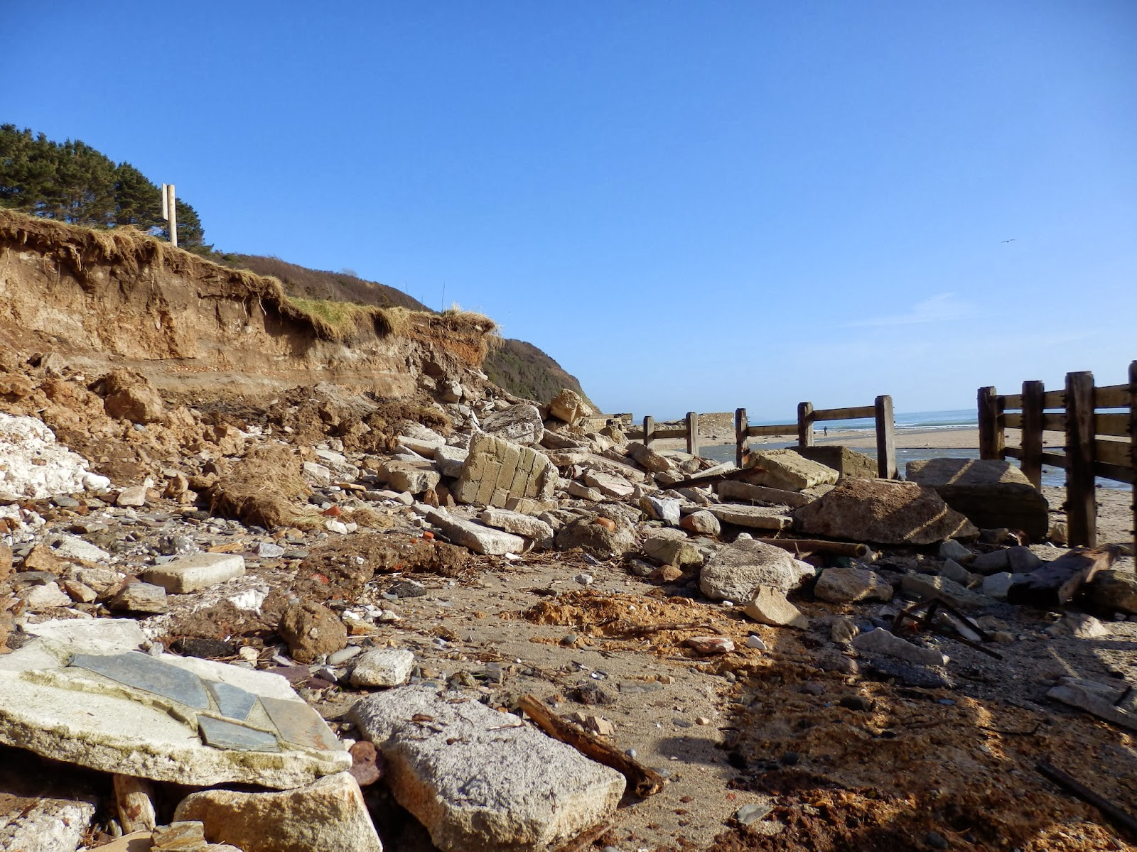 Storm damage at Pentewan Beach, Cornwall