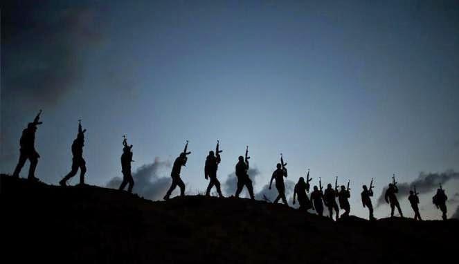 Militan Hamas dalam sebuah latihan di Gaza, Palestina