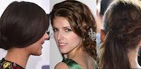 3 mulheres mostrando seus cabelos no estilo preso lateral, e rabo de cavalo de lado, estilo de cabelo que está na moda para o ano de 2013