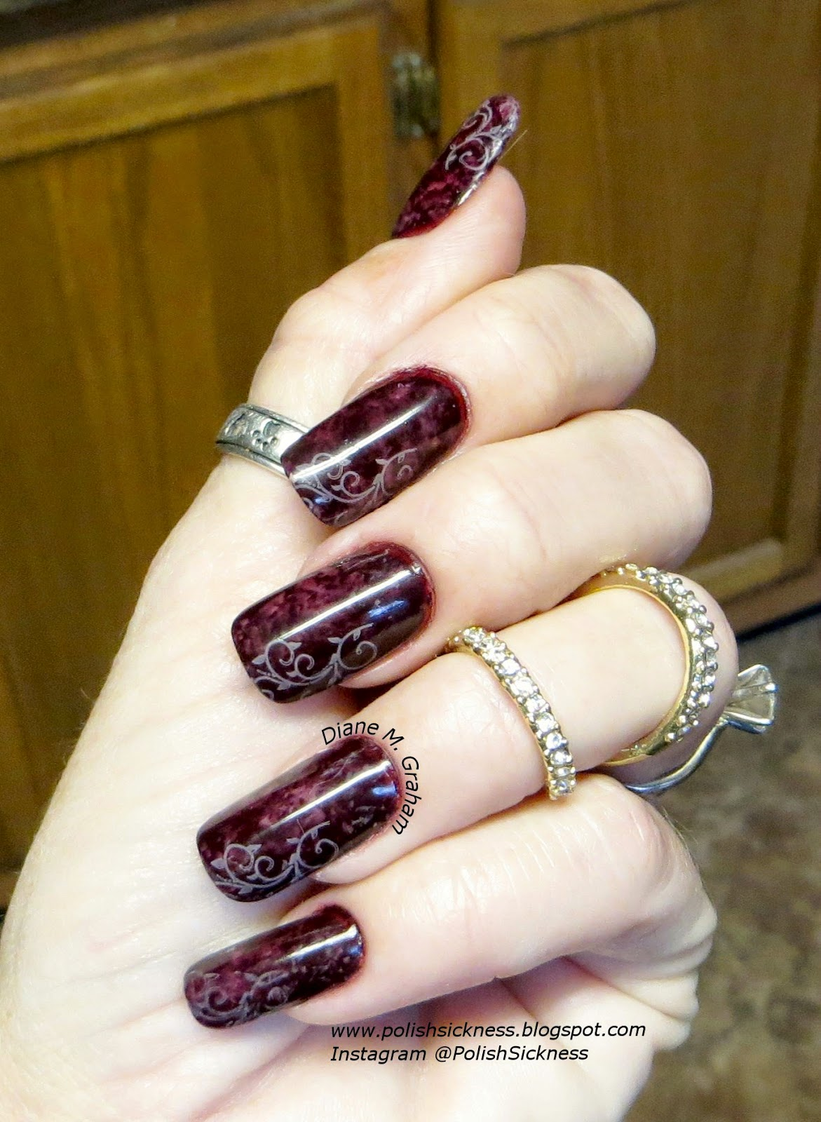 Ruby Kisses Dark & Delicious, Zoya Brigitte, Zoya Rue, saran wrap, Cheeky H stamp