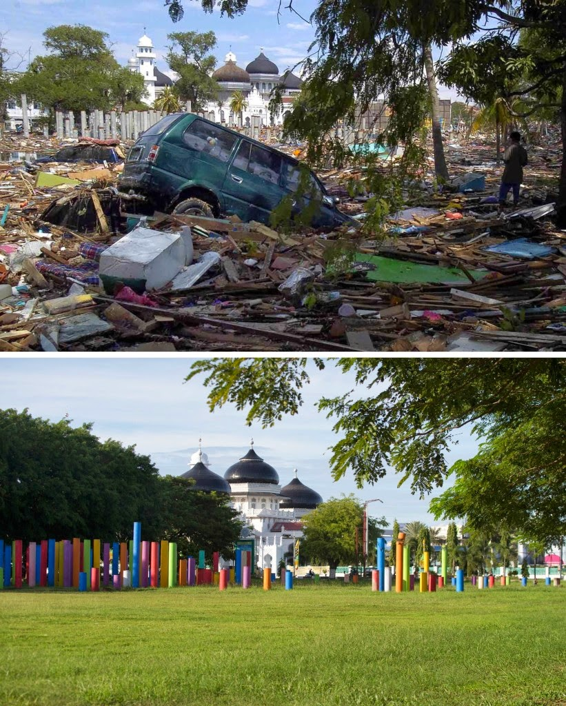 This combo shows a file photo (top) taken on Dec. 27, 2004 of heavy debris spread across the grounds of Banda Aceh's Baiturrahaman mosque in Aceh province, located on Indonesia's Sumatra island where surrounding houses and buildings were heavily damaged and coastal villages wiped out in the aftermath of the massive Dec. 26, 2004 tsunami trigerred by an earthquake, and the same location photographed on Nov. 27, 2014 (bottom) showing the renovated grounds. Indonesia will mark Dec. 26, 2014 the 10th year anniversary of the deadly tsunami which killed more than 170,000 people in Aceh, and tens of thousands of others in other countries around the Indian Ocean. (AFP Photo/Bay Ismoyo)