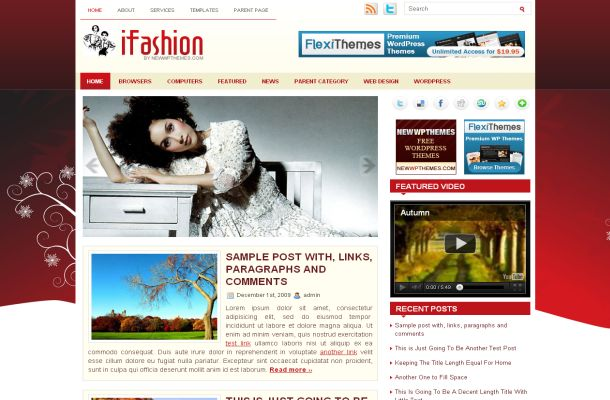 Free WordPress Red Floral Fashion Theme Template