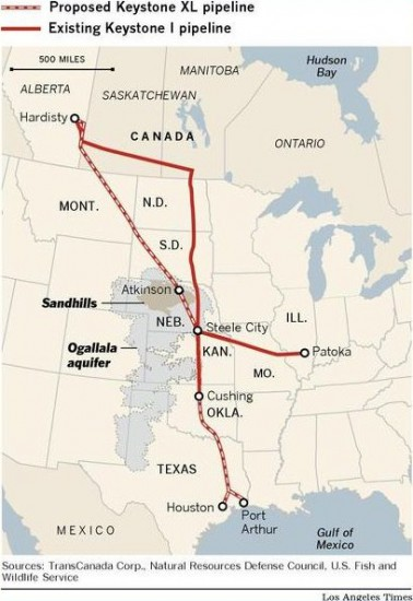 Keystone and Ogallala 378x550 Keystone XL Pipeline: Economics, Idealism and Politics (USO, GEX)