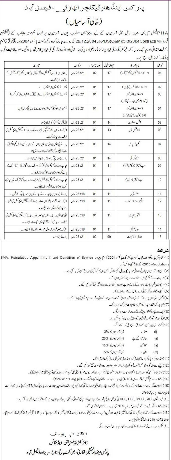 Jobs in Parks & Horticulture Authority Faisalabad