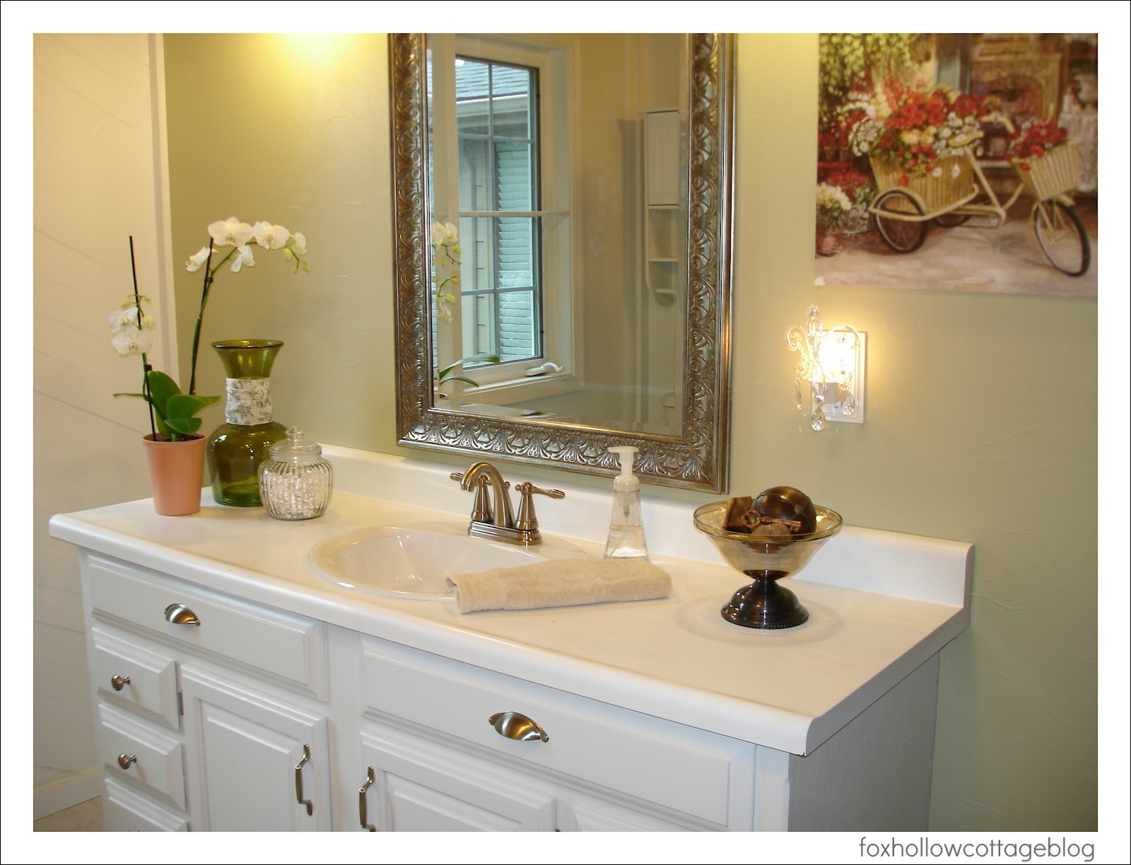 A super budget bathroom makeover fox hollow cottage for Pictures of bathroom makeovers