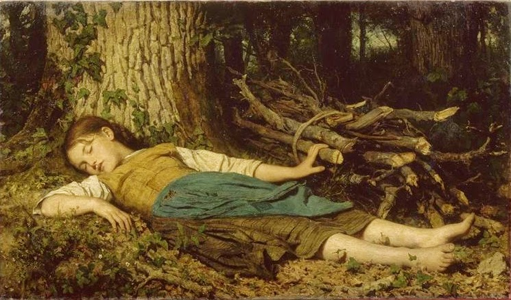 genre painting, albert anker,girl sleeping