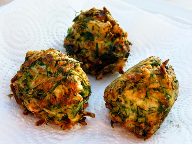 Turkish Zucchini (courgette) Fritters. Serve with spicy potato wedges and salad.