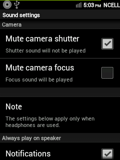 CyanMobile > Sound Settings > Camera Options