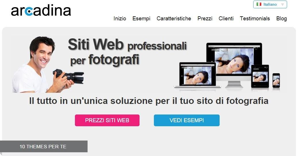 Arcadina siti web professionali per fotografi in pochi click - Recensione Servizio