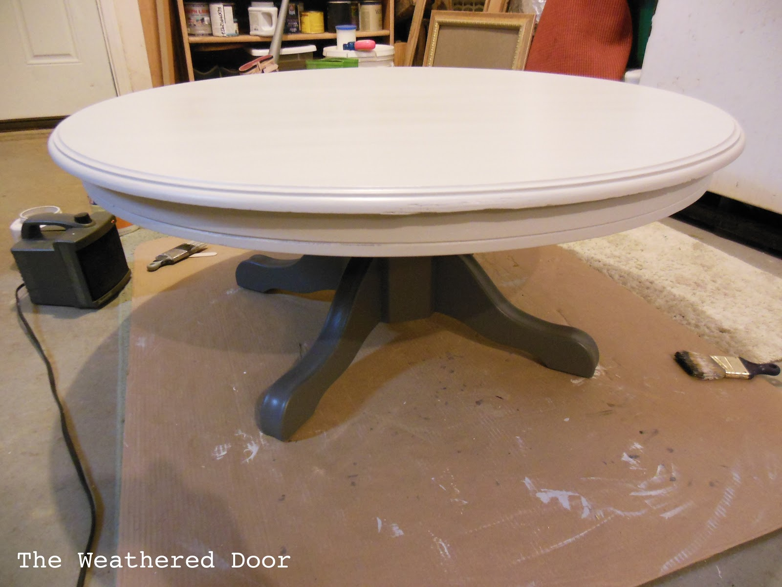 Painted Pedestal Coffee Table The Weathered Door
