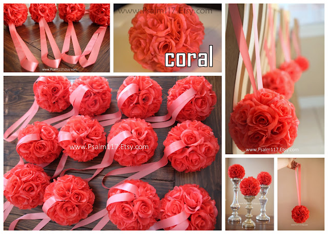 Coral Colored Flowers Wedding Coral Colored Flowers Coral Salmon Wedding Pomander