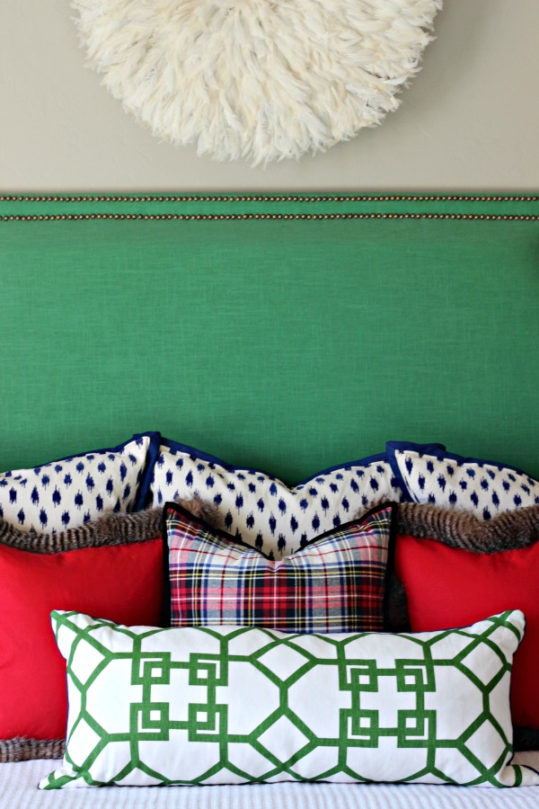no sew pillow, diy pillow, green upholstered headboard, juju hat, fur pillow, plaid pillow, Xu Garden