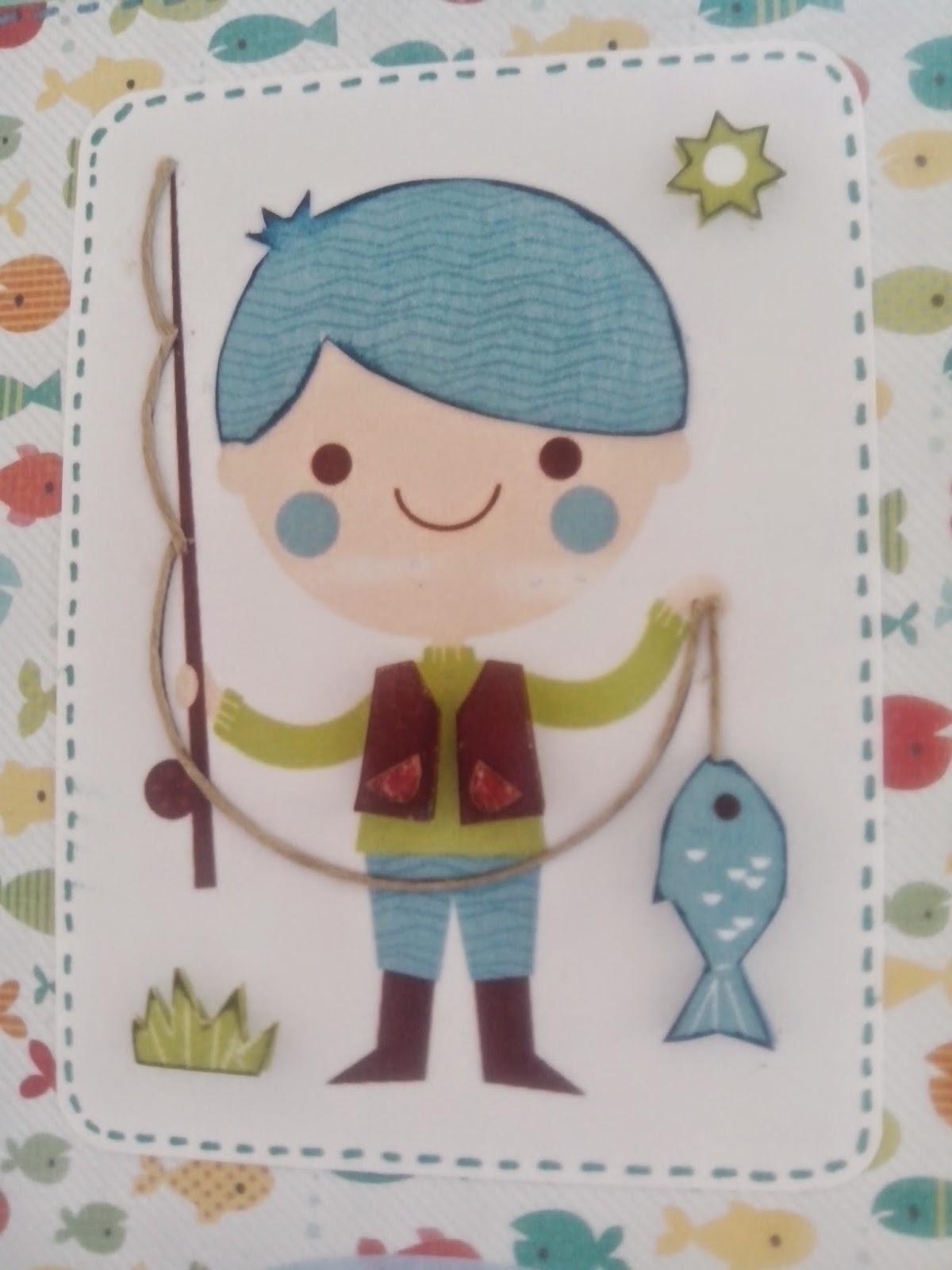 Guardiana de momentos: Tarjeta cumpleaños pescador