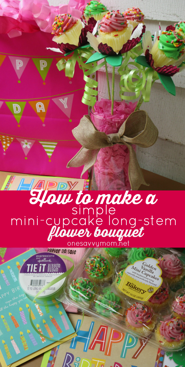 How To Make A Simple Mini-Cupcake Long-Stem Flower Bouquet #SendSmiles connections from Hallmark at Walmart onesavvymom blog One Savvy Mom