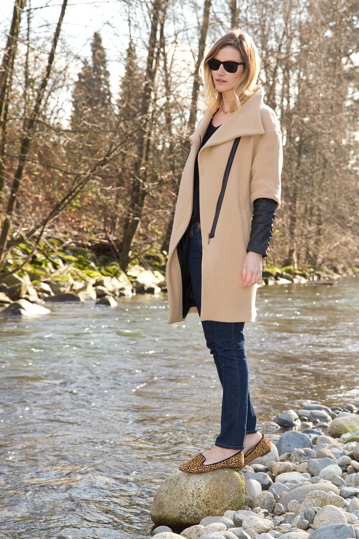 Vancouver Fashion Blogger, Alison Hutchinson, wearing Zara camel coat with black leather sleeves, Zara black basic t-shirt, BDG skinny blue jeans, Zara leopard print loafers, H&M black sunglasses