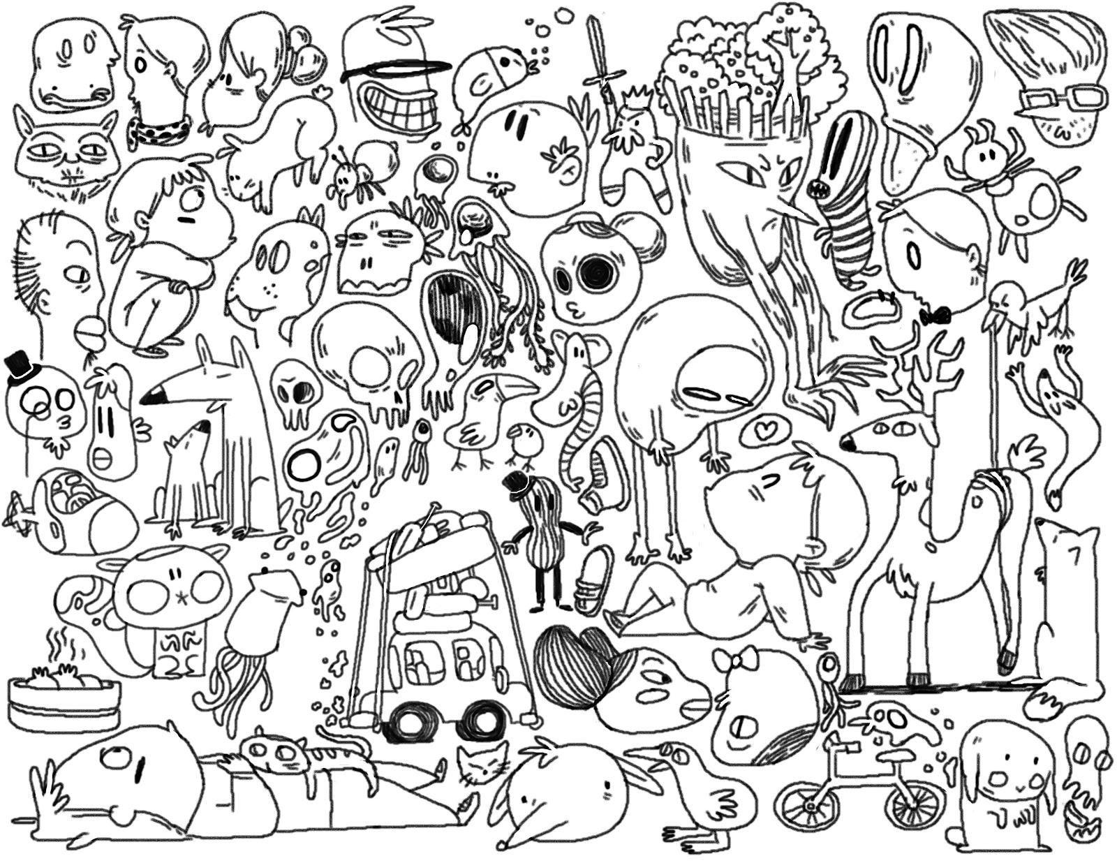 Nooree kim art blog doodle mash for Printable doodle art coloring pages