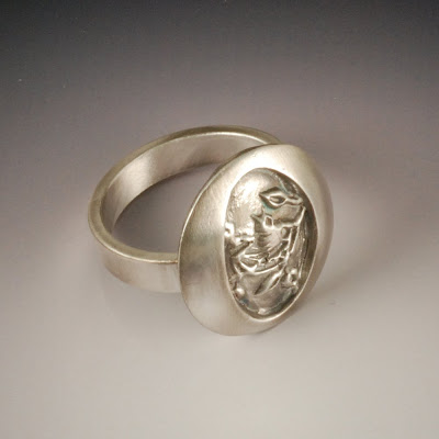 Fledgling Bird Ring by Vickie Hallmark in fine silver. bird, tree, branch, nest, baby, metal clay, pmc