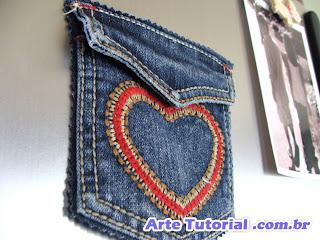 Bolso jeans para imã de geladeira