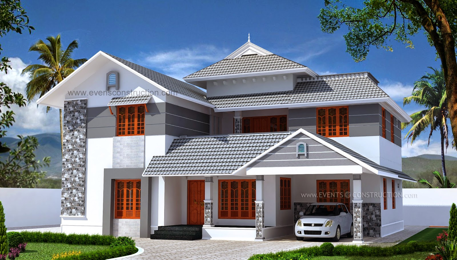 Evens Construction Pvt Ltd Double Storied Sloping Roof Kerala Home