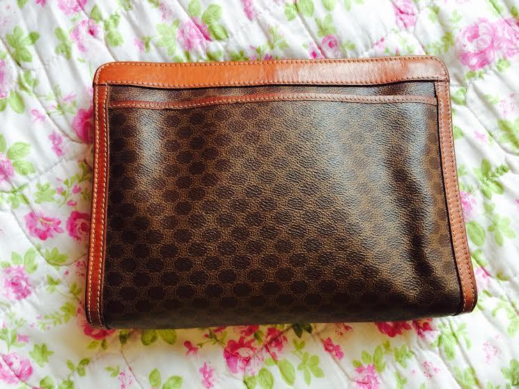 celine black leather bag - celine vintage clutch bag
