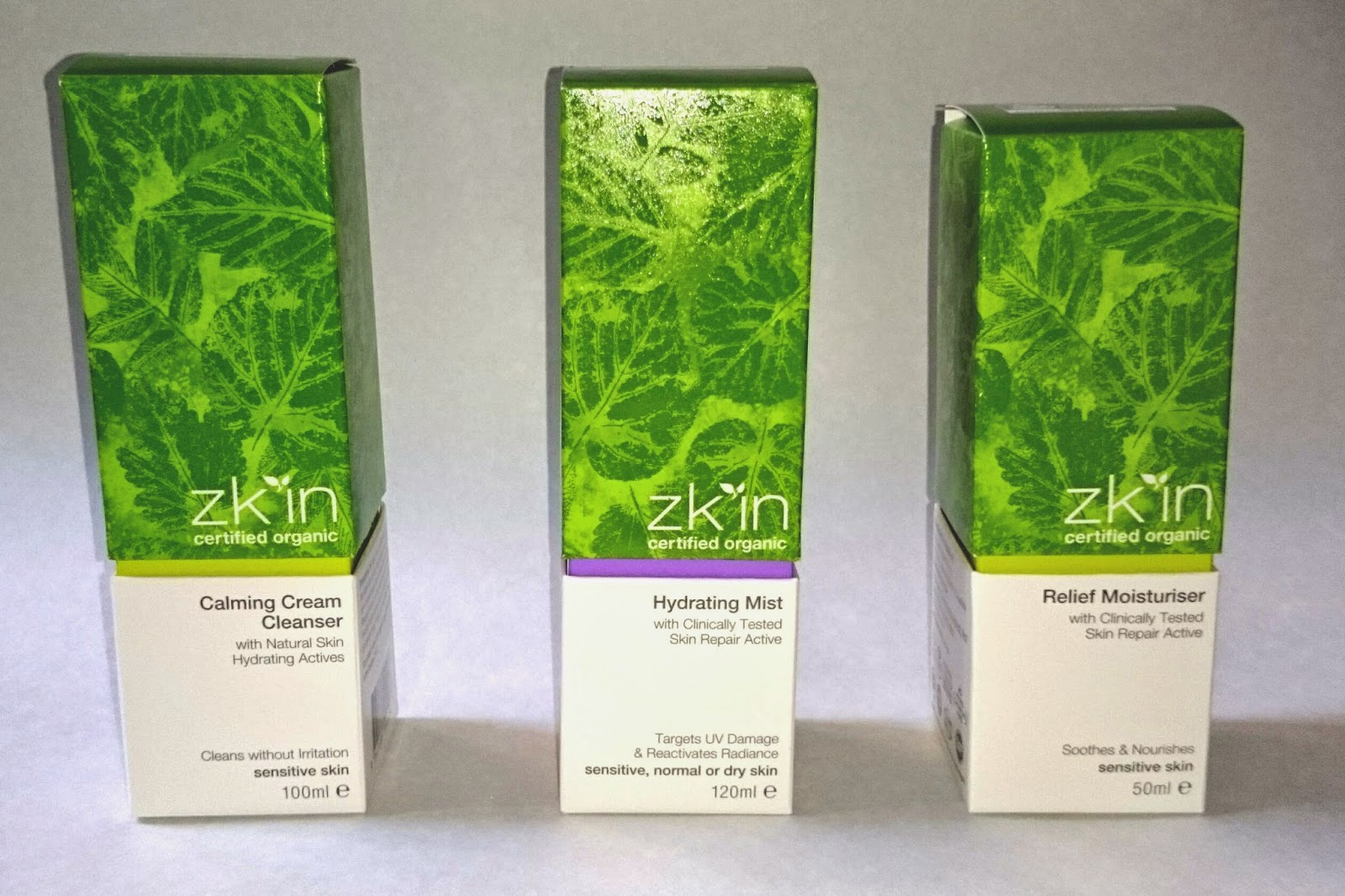 Zk'in Calming Cream Cleanser, Hydrating Mist, and Relief Moisturiser Boxes