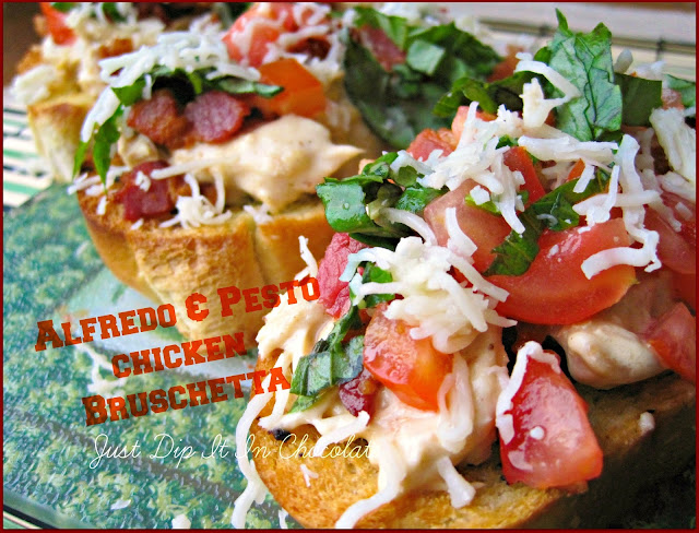 Alfredo and Pesto Chicken Bruschetta Recipe, this classic Italian Appetizer is made with leftover chicken and bread! Oh yeah...make an entire new meal with adding just a few fresh ingredients..and Bacon!