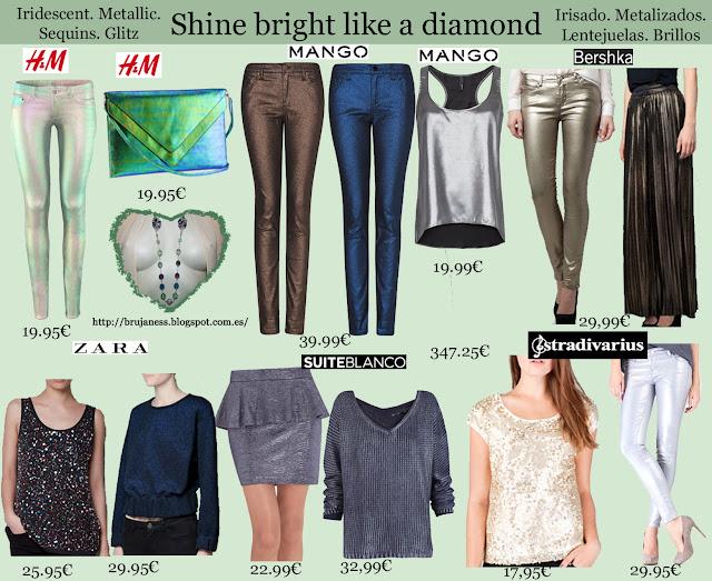jersey falda pantalon brillante metalizado efecto mojado encerado lentejuelas combinar irisado bolso camiseta jeans