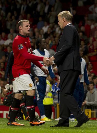 Rooney+Moyes Manchester United v Chelsea 2013