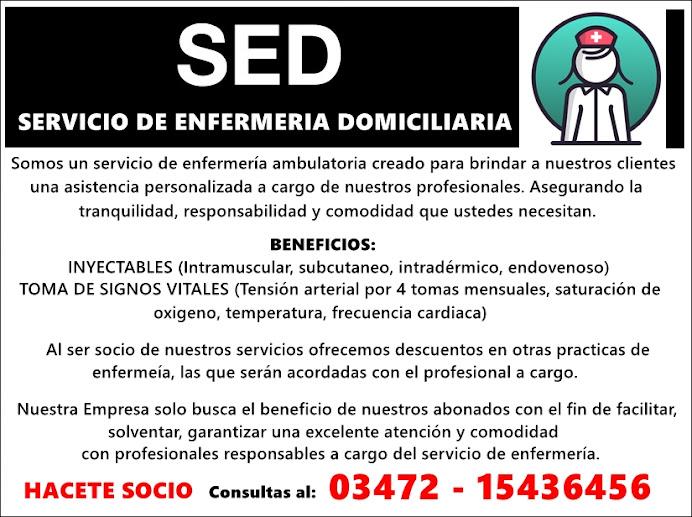 ESPACIO PUBLICITARIO: SED Servicio de Enfermería Domiciliaria