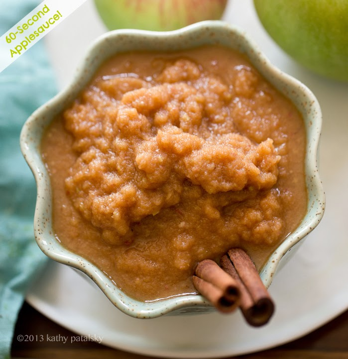 60-Second Applesauce. Raw or Simmered + Maple-Cinnamon.