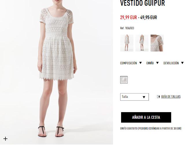 Vestido blanco encaje Zara