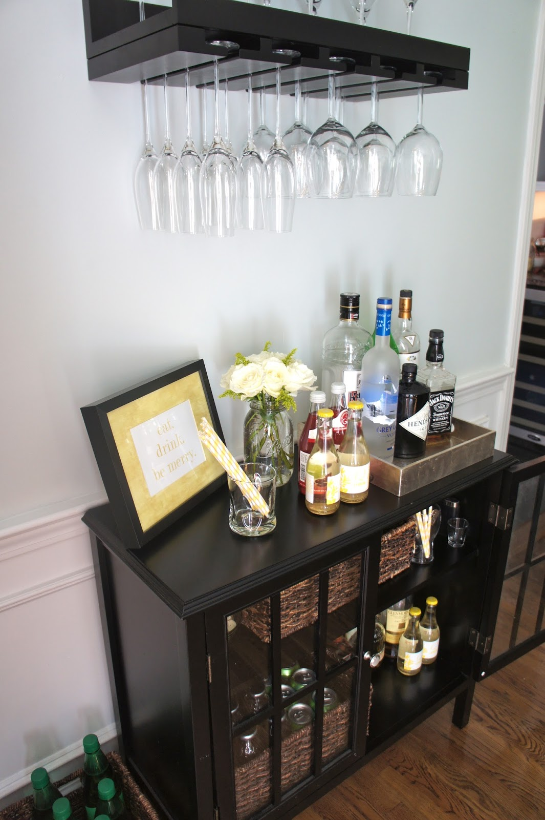 Home with baxter an organized home bar area for Mini bar design for small house