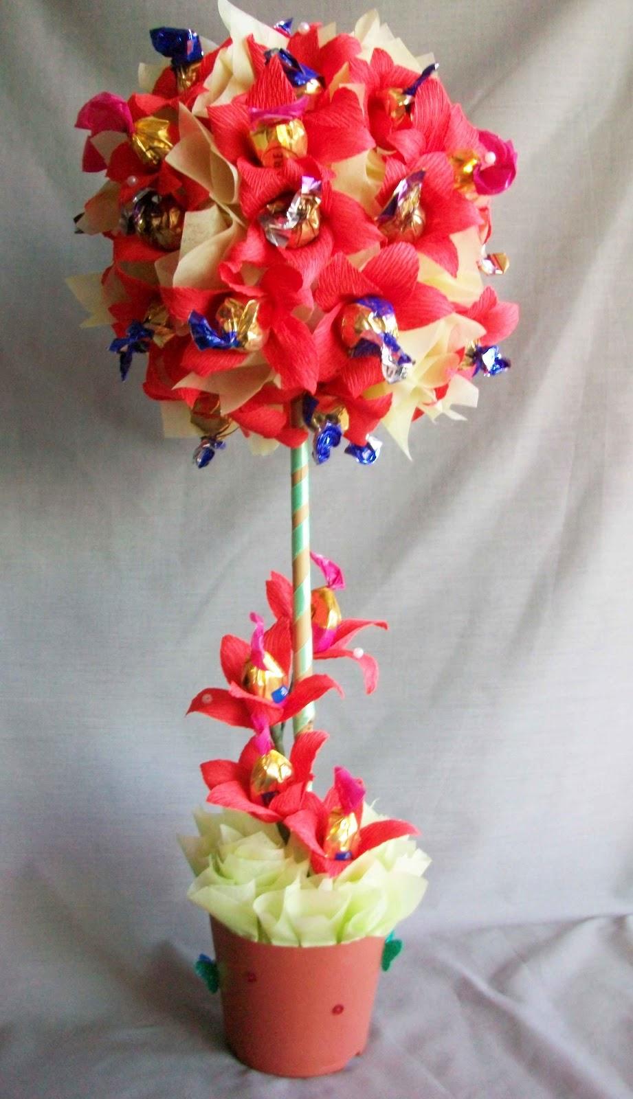 Цветы из конфет дерево своими руками