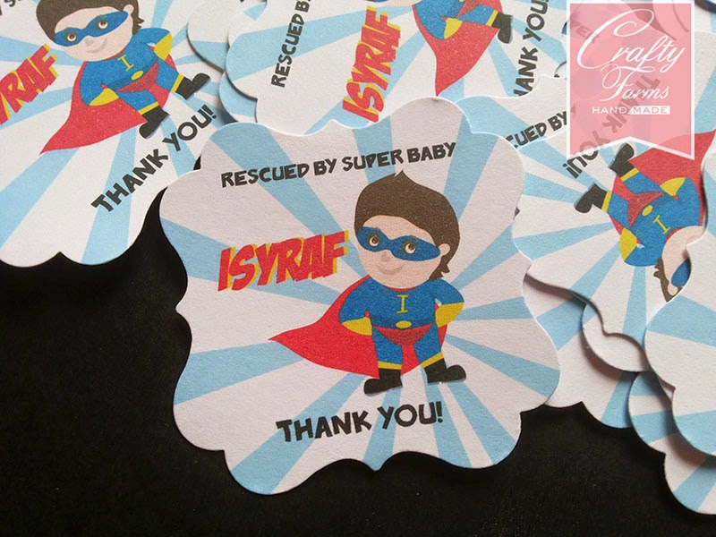 Little boy birthday party thank you tag | superhero theme