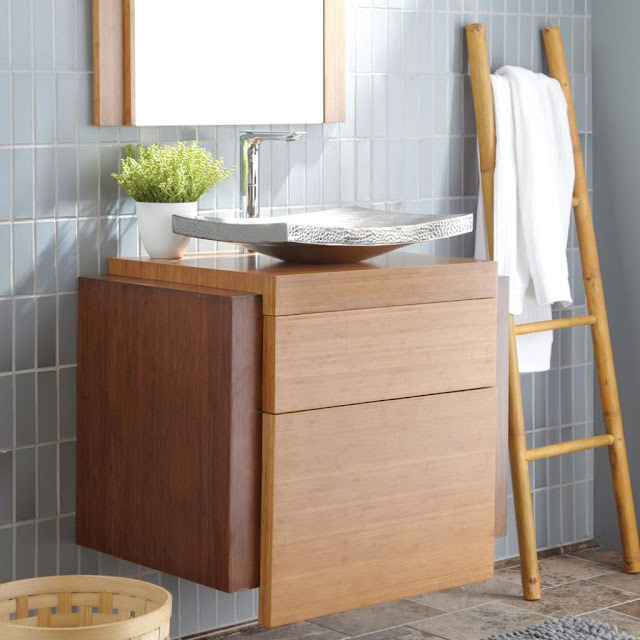 amazing wall mounted bamboo bathroom vanity with unique washbasin and modern watertap plus flower vase