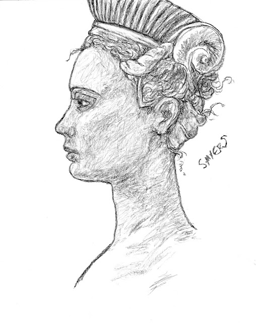 woman, art, arte, drawing, headdress, profile, S. Myers, Sarah Myers, charcoal, sketch, study, renaissance
