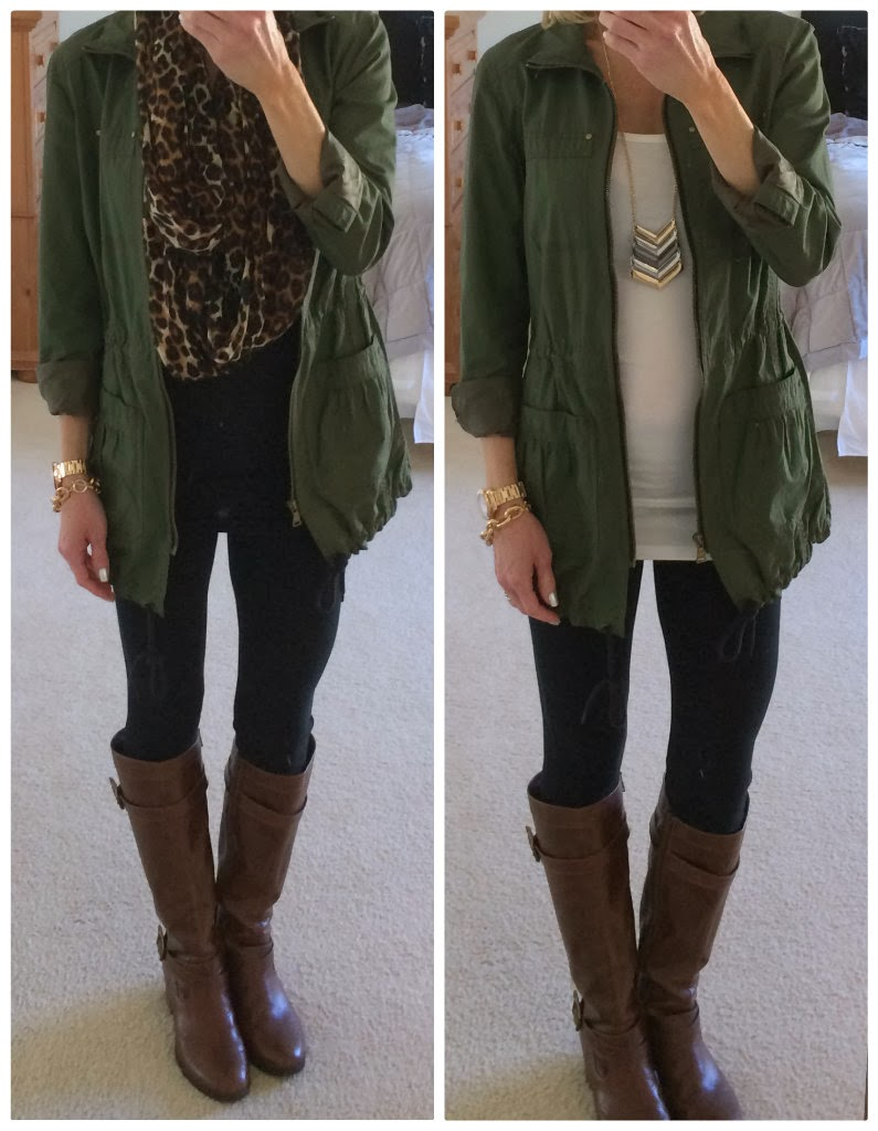 Express Cotton Anorak Jacket, Sexy Stretch Leggings, Chevron Necklace, Boots