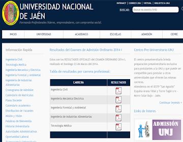 Resultados prueba admision UNJ 2014 II